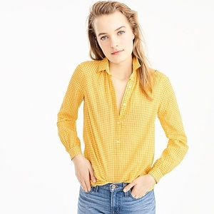 J. Crew Gathered Popover Shirt In Microgingham
